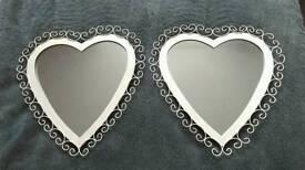 Pair of heart mirrors