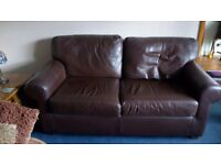 Leather two seater sofa.
