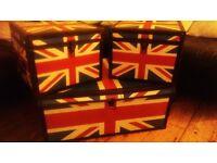3 Union Jack storage boxes