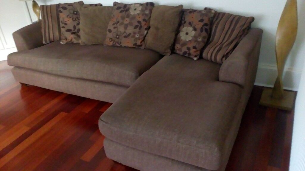 Brown Fabric Chaise Long Corner Sofa