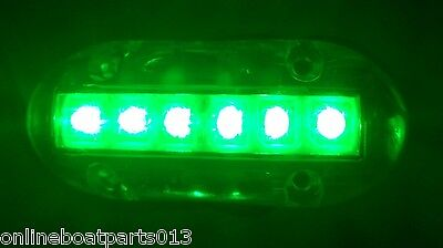 GREEN UNDERWATER LED BOAT LIGHT 4 INCLUDED 3.5X1.5 600 LUMENS