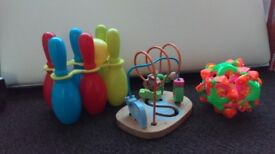 KIDS PLASTIC BOWLING, WOODEN TOY AND MAGIC BALL