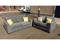 3+2 Seat Grey Fabric Sofa - Brand New