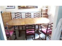 Oak veneer dining room table and 6 chairs