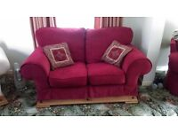 Deep red 2 seater couch & 2 chairs