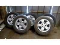 """Set of 5 alloy 17"""" Jeep Wrangler wheels and tyres"""
