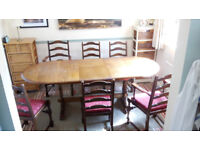 Oak Veneer Extendable Dining Table with 6 chairs