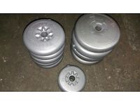 11 x York Weight Plates / Barbell Weights / Dumbbell Weights (4 x 4KG / 5 x 2.5KG / 2 x 1.25KG)