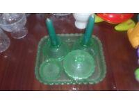 Six Piece Green Glassware