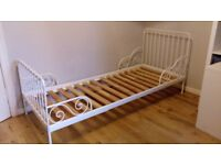 IKEA extendable white metal frame bed