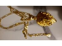Gold tiger head pendant with necklace