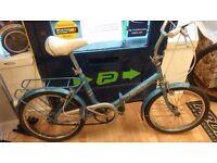 """Blue Hercules 20"""" wheels folding bike working order 3 speed sturmey archer, rear carrier"""