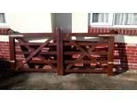 Pair of 5 Bar wooden Gates