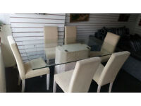 STUNNING BARKER AND STONEHOUSE SOLID MARBLE AND GLASS DINING TABLE WITH 6 HIGH BACKED CHAIRS