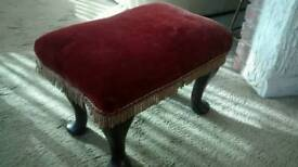 RED VELOUR LOW LEVEL FOOT STOOL,WOODEN LEGS