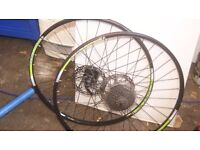 Bontrager 26inch mountain bike wheels with rotors and cassette q/r vgc