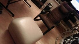 Comfortable Reclining Chair & Leather Footstool