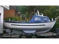 Dell Quay 19 Foot Fishing Boat For Sale with inboard 3 cylinder Lister engine