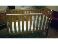 Cot Bed mint condition from John Lewis - Rachel Antique Darkwood with pocket sprung mattress