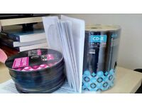 47 write once blank DVD disks & 100 CD write once blank discs & 19 envelopes