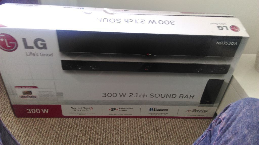lg nb3530a 300w 2 1 channel wireless soundbar with bluetooth connectivity in lisburn county. Black Bedroom Furniture Sets. Home Design Ideas