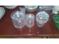 Set of 3 cut glass jars