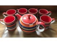 Whittards Tea Pot & 6 Mugs