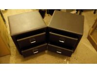 Brown faux leather bedside drawers