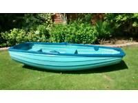 "7ft 4"" fibreglass dinghy rowing boat car toppable pram clinker style"