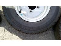Two Off Practically BRAND NEW Trailer Wheels and Tyres