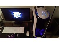 complete gaming pc setup for sale custom built six core 16gb ram full hd led monitor not ps4 or xbox