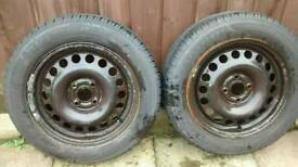 Pair 185/65R15 tyres on Vauxhall rims