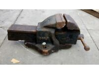 Large old heavy steel vice