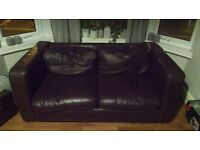 *FREE* dark brown real leather sofa 2 seater