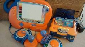 Vtech VSMILE console, art studio and 4 extra games