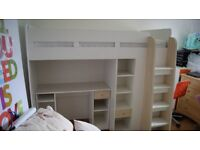 Single bunk bed with desk and wardrobe