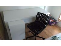 White IKEA Desk with Black Swivel Chair - Pick up Only - Dennistoun