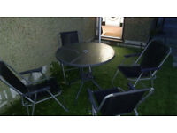 Garden Set 4 Chairs 1 Glass Table Whit Umbrella