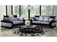 EXPRESS DELIVERY UK | DINO BLK/SILVER CORNER+FOOTSTOOL OR 3+2 SEATER SOFA | 1 YEAR WARRANTY