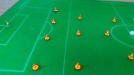 2 x genuine original Subbuteo baize cloth football pitches, good condition