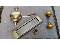 Brass Letterbox, knocker and door knob for sale £10