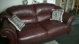 Free Burgundy Leather 3 seater Sofa
