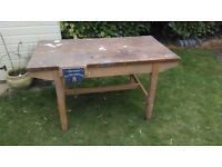 Wooden school workbench with wood working vice