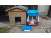 Cat carrier, outside house, litter tray & bowls. £20