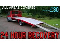 CHEAPEST 24 HOUR RECOVERY TRANSPORT TOW TRUCK CAR BREAKDOWN ACCIDENT AUCTION M25 M4 M40 JUMP START