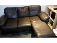 Brown leather sofa + 1 armchair