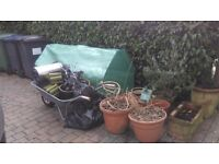 Garden clearance - free ceramic pots, plastic greenhouse, 2 green plastic tables, 8 x green chairs