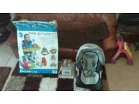 Baby red kite baby walker + tommee tippee feeding bottles + car seat