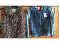 Girls 9-10 denim jacket & sleeveless jacket