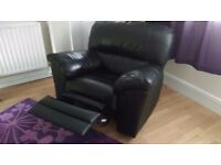 Black real leather recliner chair